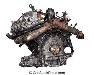 Car engine on white background