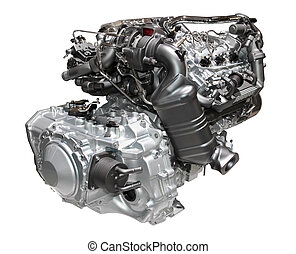 Car engine - Brand new car engine isolated on white