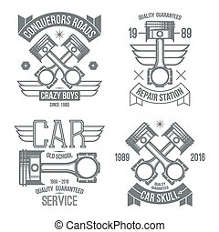 Car engine piston emblems. Grey print on a white background