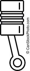 Car engine piston icon, outline style