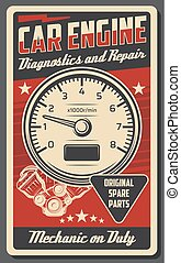 Car engine repair service vector poster