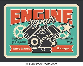 Car engine repair service vector retro poster