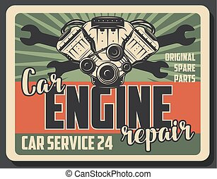 Car engine repair service vector vintage poster