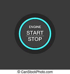 Car engine start stop button ignition.