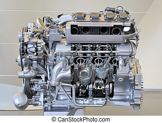 car engine - side view of a big, new and shiny car engine