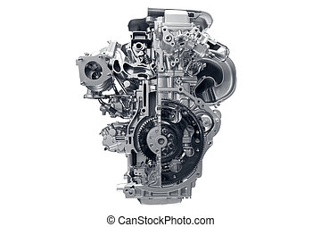 Car engine - Concept of modern car engine isolated on white...