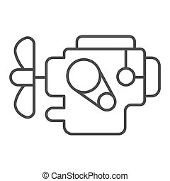 Car engine thin line icon. Automobile motor vector illustration isolated on white. Auto part outline style design, designed for web and app. Eps 10.