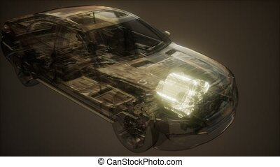 car engine visible in transparent car