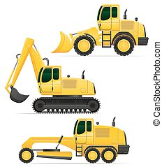 car equipment for road works vector illustration isolated on...