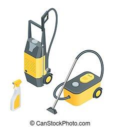 car, equipment., toque, ilustração, isometric, serviço, instalações, cheio, automático, lavagem, vetorial, apartamento, menor, 3d, tools.