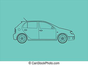 car, -, esboço, ilustração, lado