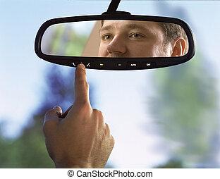 car, espelho fundo-vista