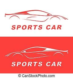 car, esportes, vermelho, silhouette.