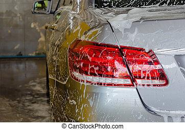 car, espuma, lavagem