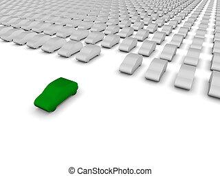 car, estacionamento, verde, lote, partindo