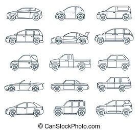 car, estilo, linear, ícones