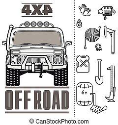 car, estrada, caminhão, jogo, ícone, 4x4, desligado