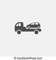 Car evacuation icon in a flat design in black color. Vector illustration eps10