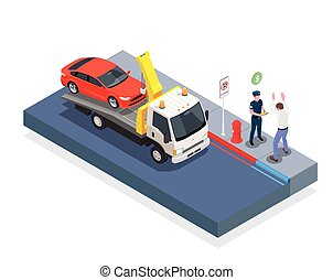 Car evacuation isometric design concept with tow truck policeman driver and sign parking is prohibited vector illustration