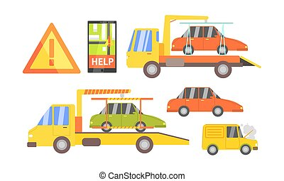 Car Evacuation Set, Road Assistance Service Help, Evacuator Tow Track and Damaged Cars Vector Illustration