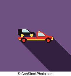 Car evacuator icon in flat style