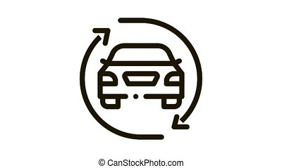 car exchange Icon Animation. black car exchange animated icon on white background