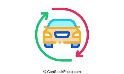 car exchange Icon Animation. color car exchange animated icon on white background