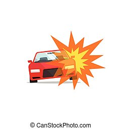 Car explosion, automobile disaster, auto fire accident,...