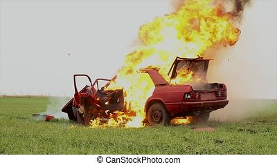 Car Explosion In The Field. - Red Car On Fire, Burning Car...