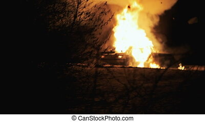 Car Explosion On Night, Insurgents Blow Up Car - Explosion...