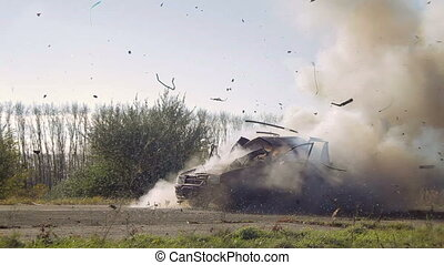 Car Explosion On The Road During The Daytime. - Car Burnin...