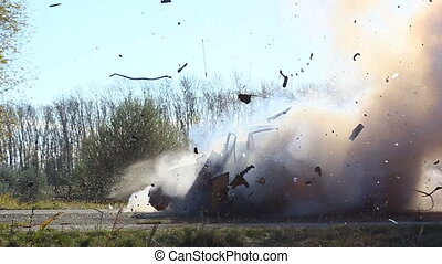 Car Explosion On The Road During The Daytime. Side View. -...