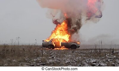 Car Explosion, Side View, Car burns in a gray field - Car On...