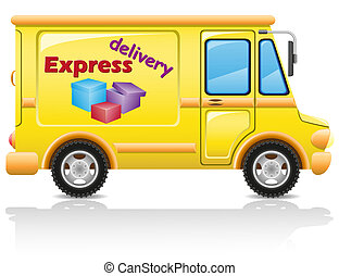 car express delivery of mail and parcels illustration...
