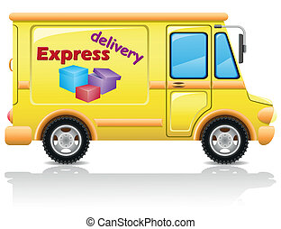 car express delivery of mail and parcels vector illustration...