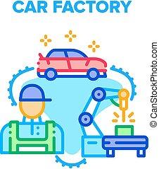 Car Factory Vector Concept Color Illustration