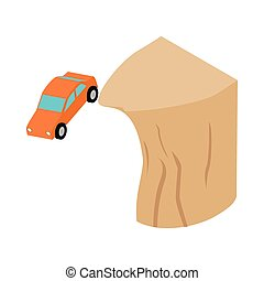 Car falls off a cliff icon, isometric 3d style
