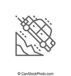 Car falls off a cliff line icon.