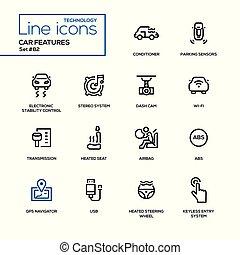 Car features - line design icons set