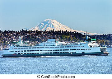 Car Ferry Mount Rainier Puget Sound North Seattle Snow...