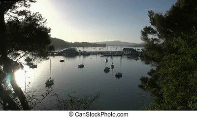 Car ferry - Opua. - View over Opua wharf early morning with...
