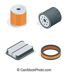 Car filters isometric set. Car parts. Filters for cars flat...
