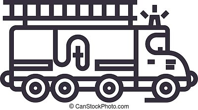 car fire engine vector line icon, sign, illustration on background, editable strokes
