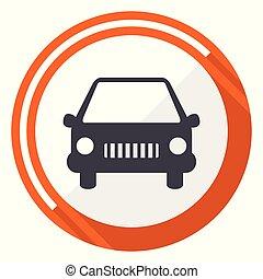 Car flat design vector web icon. Round orange internet button isolated on white background.