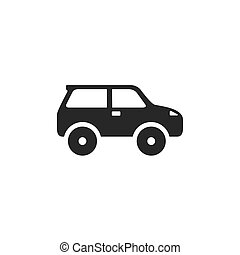Car flat icon on white. Vector illustration