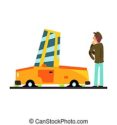 Car flat tires, car accident colorful character vector Illustration