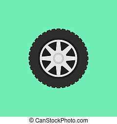 Car flat wheel with tire vector icon on green background