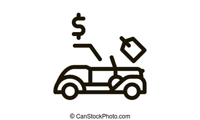 car for auction Icon Animation. black car for auction animated icon on white background