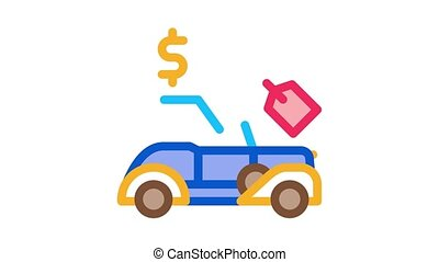 car for auction Icon Animation. color car for auction animated icon on white background