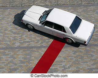 car for ceremony celebration with red carpet way to it